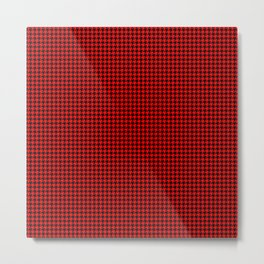 Large Red Devil and Black Hell Hounds Tooth Check Metal Print