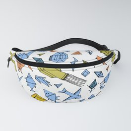 Marine animals and plants, Stylized origami Fanny Pack
