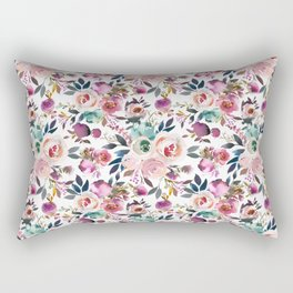 Hand painted blush pink purple watercolor floral Rectangular Pillow