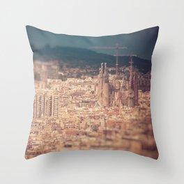 Barcelona Cityscape Throw Pillow