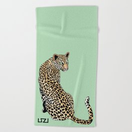 Mrs. Leopard Towel Green Beach Towel