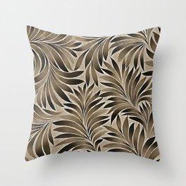 Smoky Leaves Slate Grey Palette Throw Pillow