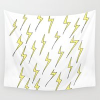 lightning Wall Tapestries featuring Lightning by Jess Driscoll