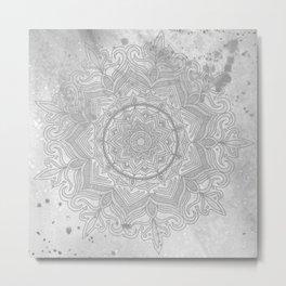 gray splash mandala swirl boho Metal Print