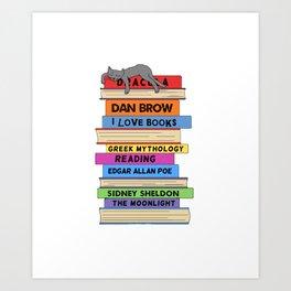 Cat sleep love books Art Print
