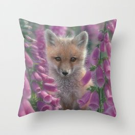 Red Fox Pup - Foxgloves Throw Pillow