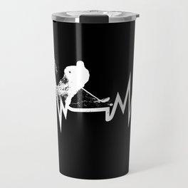 Hockey Heartbeat Cool Gift for Hockey Players Travel Mug