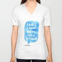 neil gaiman V-neck T-shirts featuring Neil Gaiman, quotes, Sky color by Good vibes and coffee