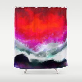 Abstract in Red, White and Purple Shower Curtain