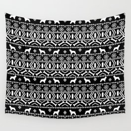 Cocker Spaniel fair isle christmas pattern dog breed holiday gifts black and white Wall Tapestry