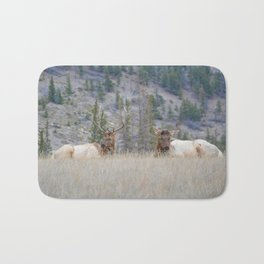 Elk shedding their antlers in Jasper National Park Bath Mat