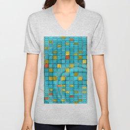 Block Aqua Blue and Yellow Art - Block Party 2 - Sharon Cummings Unisex V-Neck