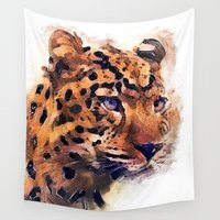 leopard Wall Tapestries featuring Leopard by jbjart