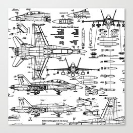 F-18 Blueprints Canvas Print