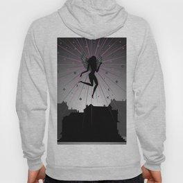 Dark angel soaring over houses Hoody