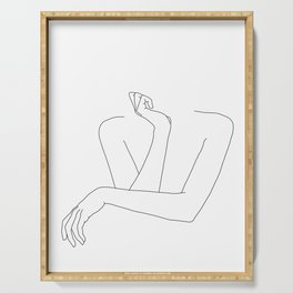 Minimal line drawing of woman's folded arms - Anna Serving Tray