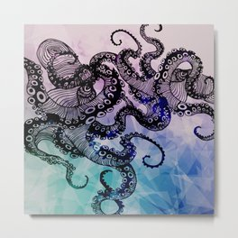 Watercolor Design Octopus  Metal Print
