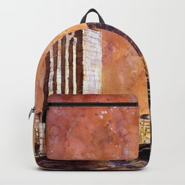 Watercolor painting of skyscrapers of downtown Grand Rapids at sunset- Michigan Backpack