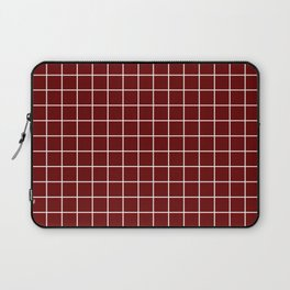 Blood red - purple color - White Lines Grid Pattern Laptop Sleeve