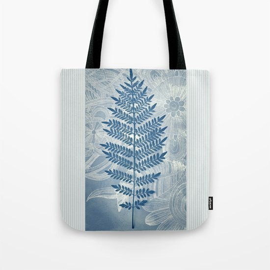 Jacaranda Leaf in Blue, Cream, Grey Tote Bag
