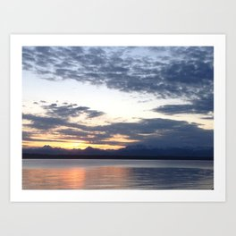 Mountain sunset on the water Art Print