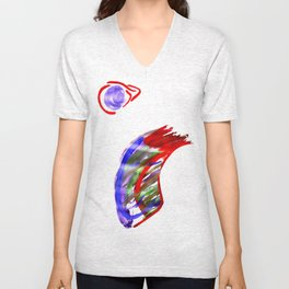 Face and a moon Unisex V-Neck
