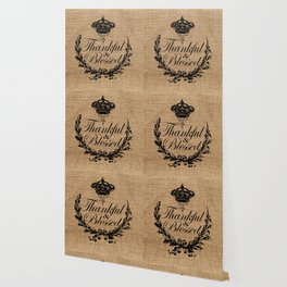 french country jubilee crown thanksgiving fall wreath beige burlap thankful and blessed Wallpaper