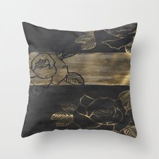 Feminine, Grung Print. Black and Gold Roses. Throw Pillow