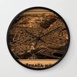 Map Of Ithaca 1882 Wall Clock