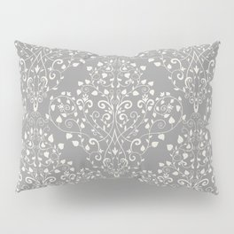 Art Nouveau Flourish Damask Pattern – Neutral Medium Gray Pillow Sham