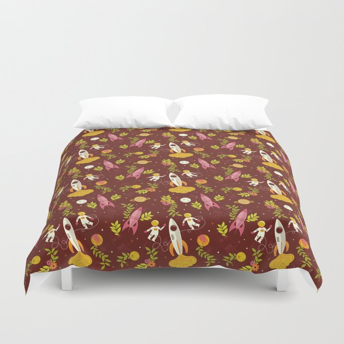 Astronauts in Space with Florals - Maroon Duvet Cover