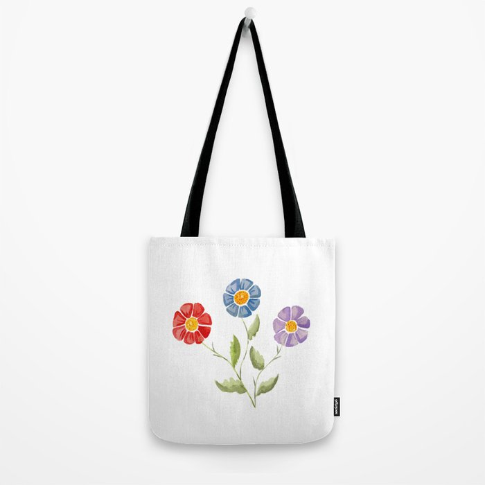 Flower Set, 3 Flowers, Red Blue and Purple Flowers Tote Bag