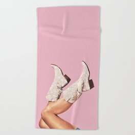 These Boots - Glitter Pink Beach Towel