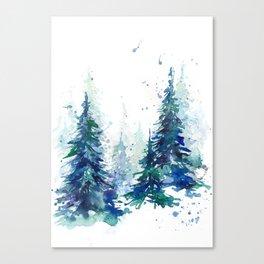 Watercolor winter fir forest Canvas Print