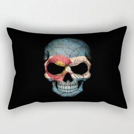 Dark Skull with Flag of Colorado Rectangular Pillow