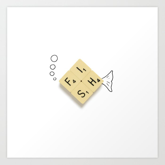 Fish Scrabble Art Print
