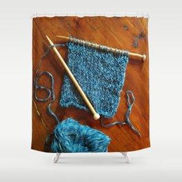 knitting photo, denim, denim photo, blue, wood, knitting, knit, brown, Shower Curtain