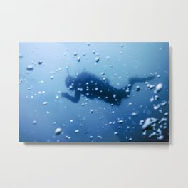Scuba Diver Swimming on a Blue Water Air Bubbles Metal Print