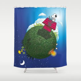 Green Peanuts World Shower Curtain