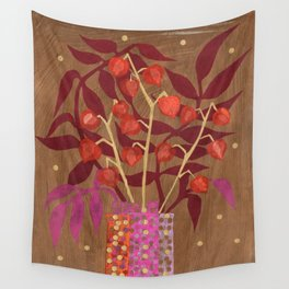 Chinese Lanterns, Physalis, Paper Collage Papercut Autumn Flowers Abstract Floral Wall Tapestry