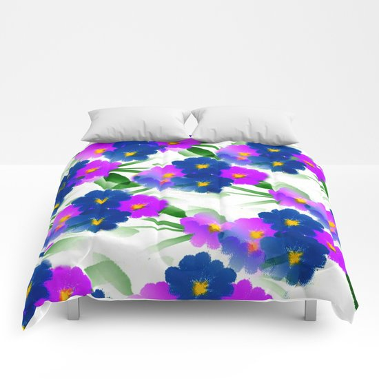 Abundance Of Painted Flowers Comforters