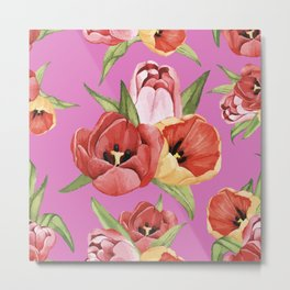Hibiscus digital painting flowers design for home decoration Metal Print