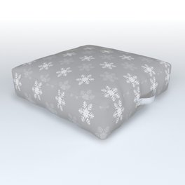 Snowflake Pattern | Winter | Hygge | Scandi | Grey and White | Outdoor Floor Cushion