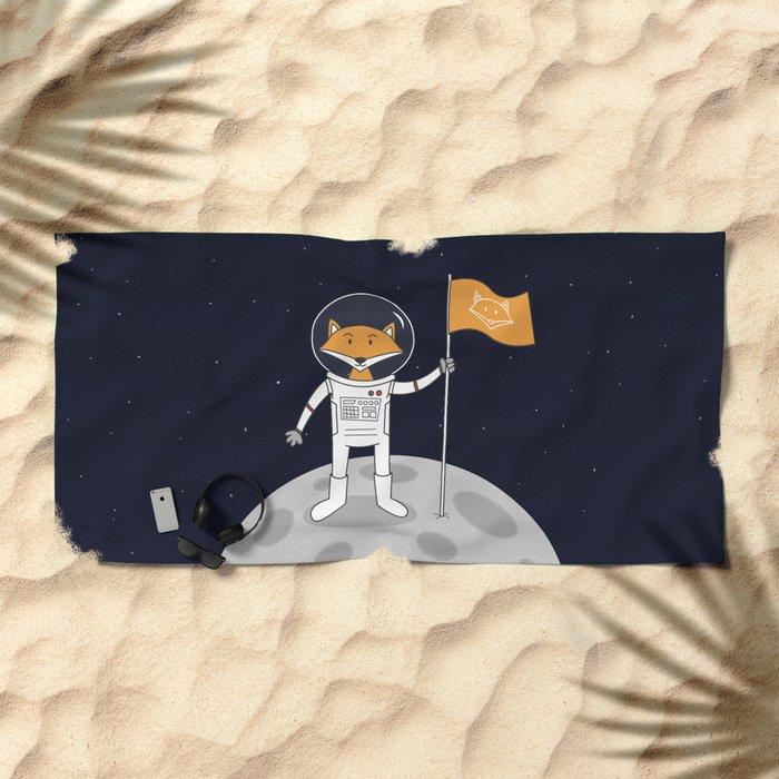The Fox on the Moon Beach Towel