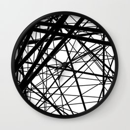 Abstract black and white . Line 2 . Wall Clock