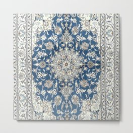 Antique Persian Rug - blue and gray Metal Print