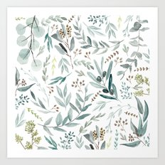Eucalyptus pattern Art Print