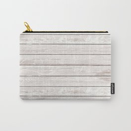 Rustic ivory white vintage wood Carry-All Pouch