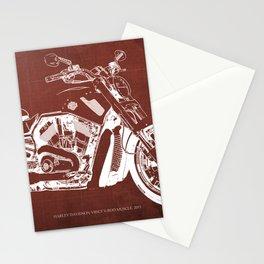 2011 HD VRSCF V-Rod Muscle red blueprint Stationery Cards