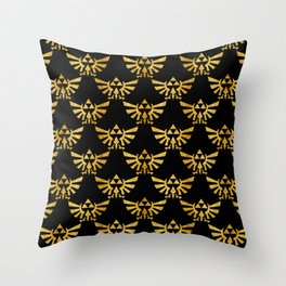 Golden Triforce Zelda Hylian Royal Crest Pattern Throw Pillow